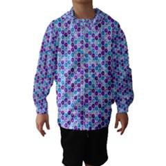 Purple Blue Cubes Hooded Wind Breaker (Kids)