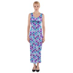 Purple Blue Cubes Fitted Maxi Dress