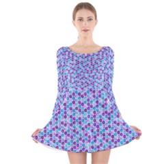Purple Blue Cubes Long Sleeve Velvet Skater Dress