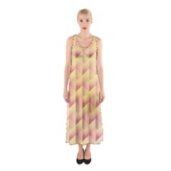 Geometric Pink & Yellow  Full Print Maxi Dress