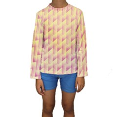 Geometric Pink & Yellow  Kid s Long Sleeve Swimwear