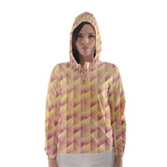 Geometric Pink & Yellow  Hooded Wind Breaker (Women)