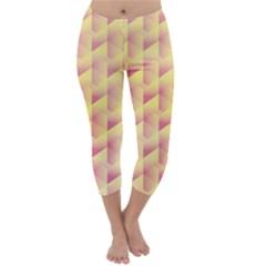 Geometric Pink & Yellow  Capri Winter Leggings