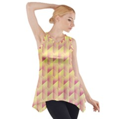 Geometric Pink & Yellow  Side Drop Tank Tunic