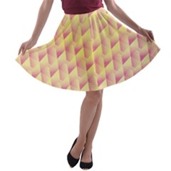 Geometric Pink & Yellow  A-line Skater Skirt