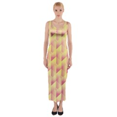Geometric Pink & Yellow  Fitted Maxi Dress