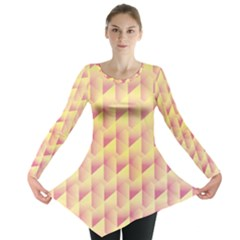 Geometric Pink & Yellow  Long Sleeve Tunic