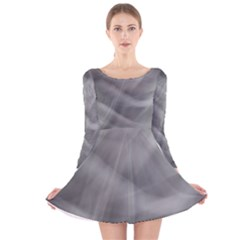 Gray Fog Long Sleeve Velvet Skater Dress