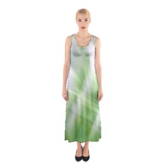 Green And Purple Fog Full Print Maxi Dress