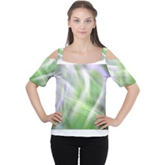 Green and Purple Fog Women s Cutout Shoulder Tee