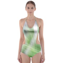 Green and Purple Fog Cut-Out One Piece Swimsuit