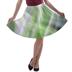 Green and Purple Fog A-line Skater Skirt