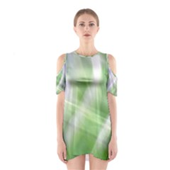 Green and Purple Fog Cutout Shoulder Dress