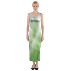 Green and Purple Fog Fitted Maxi Dress