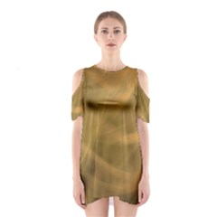 Brown Fog Cutout Shoulder Dress