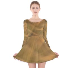 Brown Fog Long Sleeve Velvet Skater Dress