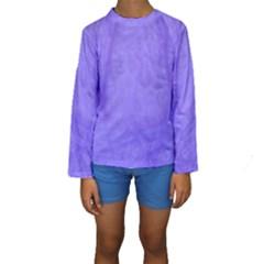 Purple Modern Leaf Kid s Long Sleeve Swimwear