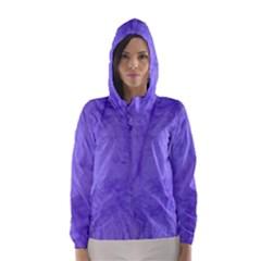 Purple Modern Leaf Hooded Wind Breaker (Women)