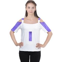 Purple Modern Leaf Women s Cutout Shoulder Tee