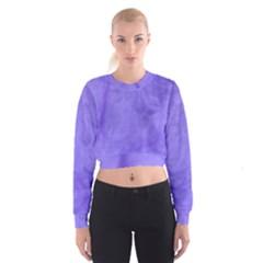 Purple Modern Leaf Women s Cropped Sweatshirt