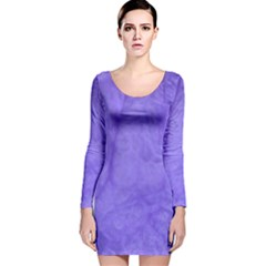 Purple Modern Leaf Long Sleeve Velvet Bodycon Dress