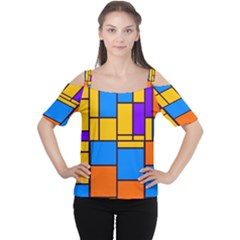 Retro colors rectangles and squares Women s Cutout Shoulder Tee