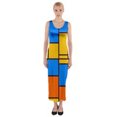 Retro colors rectangles and squares Fitted Maxi Dress