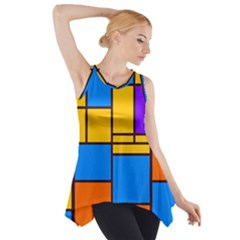 Retro Colors Rectangles And Squares Side Drop Tank Tunic