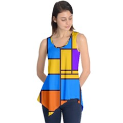 Retro colors rectangles and squares Sleeveless Tunic
