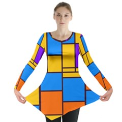 Retro colors rectangles and squares Long Sleeve Tunic
