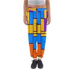 Retro colors rectangles and squares Women s Jogger Sweatpants