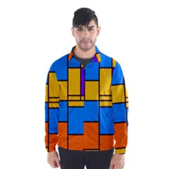 Retro Colors Rectangles And Squares Wind Breaker (men)