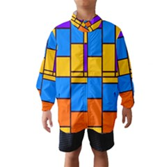 Retro colors rectangles and squares Wind Breaker (Kids)