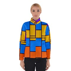 Retro colors rectangles and squares Winter Jacket
