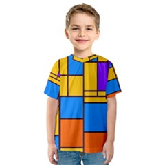 Retro colors rectangles and squares Kid s Sport Mesh Tee