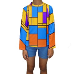 Retro colors rectangles and squares  Kid s Long Sleeve Swimwear
