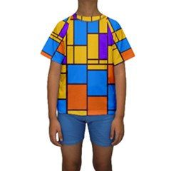 Retro colors rectangles and squares  Kid s Short Sleeve Swimwear