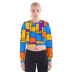 Retro colors rectangles and squares   Women s Cropped Sweatshirt