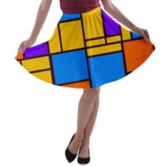 Retro colors rectangles and squares A-line Skater Skirt