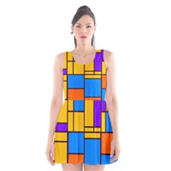 Retro colors rectangles and squares Scoop Neck Skater Dress