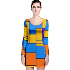 Retro Colors Rectangles And Squares Long Sleeve Velvet Bodycon Dress