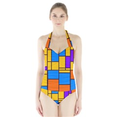 Retro colors rectangles and squares Women s Halter One Piece Swimsuit