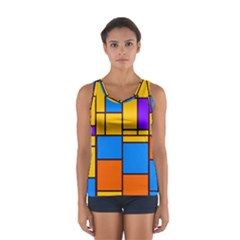 Retro Colors Rectangles And Squares Women s Sport Tank Top