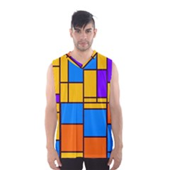 Retro colors rectangles and squares Men s Basketball Tank Top