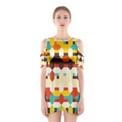 Shapes In Retro Colors Women s Cutout Shoulder Dress