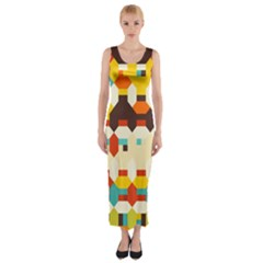 Shapes in retro colors Fitted Maxi Dress