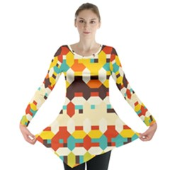 Shapes in retro colors Long Sleeve Tunic