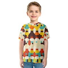 Shapes in retro colors Kid s Sport Mesh Tee