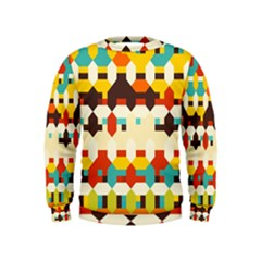Shapes In Retro Colors  Kid s Sweatshirt
