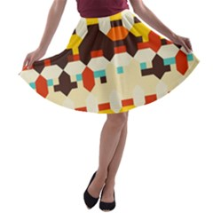 Shapes in retro colors A-line Skater Skirt